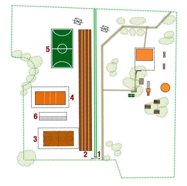 Mappa dell'area esterna della scuola Copernico (a sinistra) e del Giardino Cortivo (a destra).
